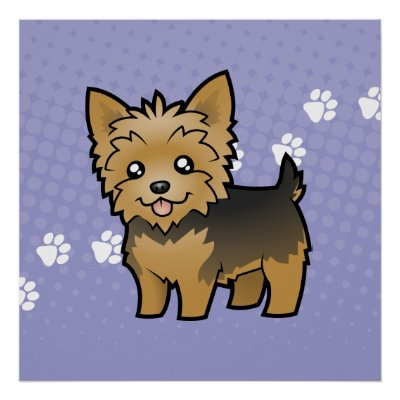 Cartoon Yorkshire Terrier (short hair no bow) Posters by CartoonizeMyPet