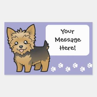 Cartoon Yorkshire Terrier (short hair no bow) Rectangular Sticker