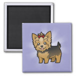 Cartoon Yorkshire Terrier (short hair with bow) 2 Inch Square Magnet