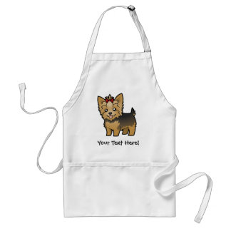 Cartoon Yorkshire Terrier (short hair with bow) Adult Apron