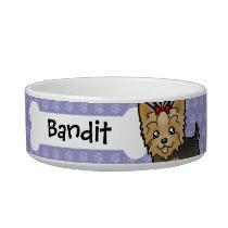 Cartoon Yorkshire Terrier (short hair with bow) Bowl