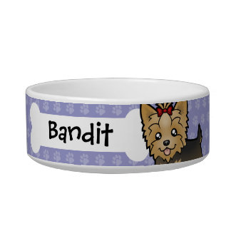 Cartoon Yorkshire Terrier (short hair with bow) Bowl