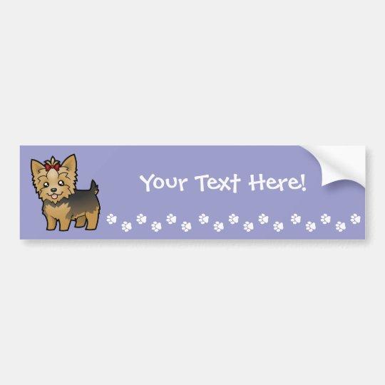 Cartoon Yorkshire Terrier (short hair with bow) Bumper Sticker