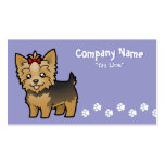Cartoon Yorkshire Terrier (short hair with bow) Business Card Template