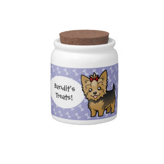 Cartoon Yorkshire Terrier (short hair with bow) Candy Dishes