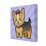 Cartoon Yorkshire Terrier (short hair with bow) Canvas Print