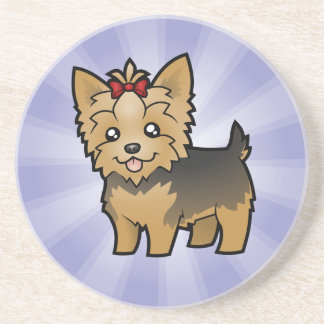 Cartoon Yorkshire Terrier (short hair with bow) Coaster