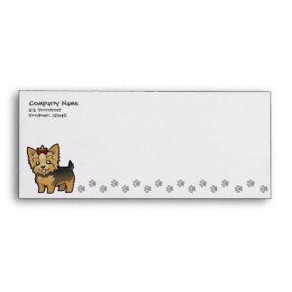 Cartoon Yorkshire Terrier (short hair with bow) Envelope