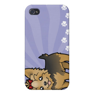 Cartoon Yorkshire Terrier (short hair with bow) iPhone 4/4S Covers