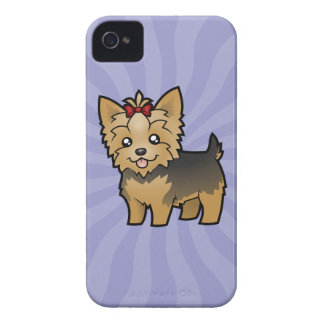 Cartoon Yorkshire Terrier (short hair with bow) iPhone 4 Case-Mate Case