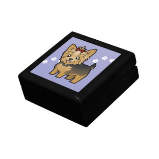 Cartoon Yorkshire Terrier (short hair with bow) Jewelry Box