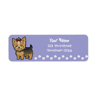 Cartoon Yorkshire Terrier (short hair with bow) Label