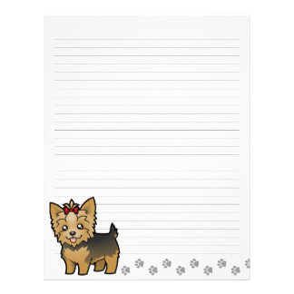 Cartoon Yorkshire Terrier (short hair with bow) Letterhead