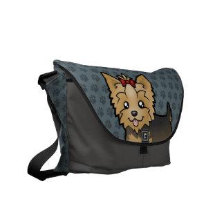 Cartoon Yorkshire Terrier (short hair with bow) Messenger Bag