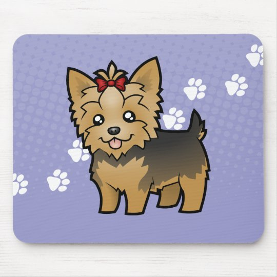 Cartoon Yorkshire Terrier (short hair with bow) Mouse Pad