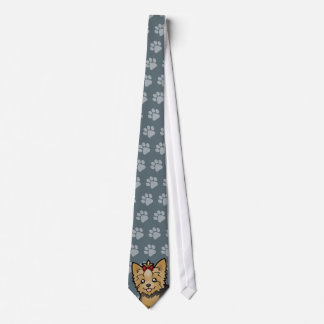 Cartoon Yorkshire Terrier (short hair with bow) Neck Tie