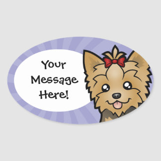 Cartoon Yorkshire Terrier (short hair with bow) Oval Sticker