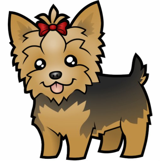 Cartoon Yorkshire Terrier (short hair with bow) Photo Sculpture Magnet