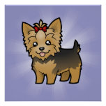 Cartoon Yorkshire Terrier (short hair with bow) Poster