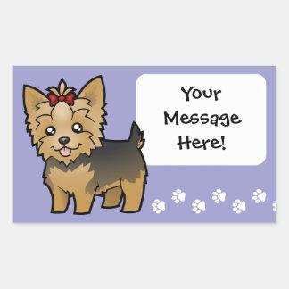 Cartoon Yorkshire Terrier (short hair with bow) Rectangular Sticker