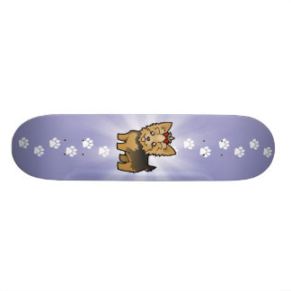 Cartoon Yorkshire Terrier (short hair with bow) Skateboard