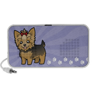 Cartoon Yorkshire Terrier (short hair with bow) Mini Speakers
