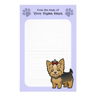 Cartoon Yorkshire Terrier (short hair with bow) Stationery
