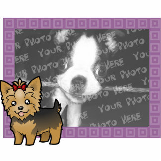 Cartoon Yorkshire Terrier (short hair with bow) Statuette