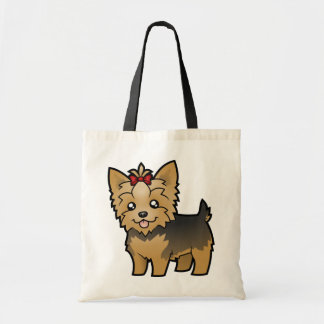 Cartoon Yorkshire Terrier (short hair with bow) Tote Bag