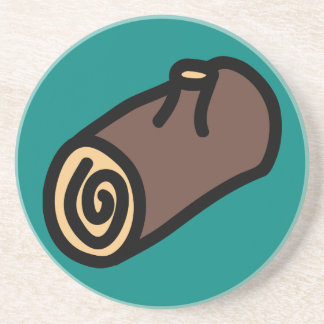 Cartoon Yule Log Holiday Icons Coaster