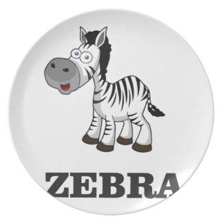 cartoon zebra plate