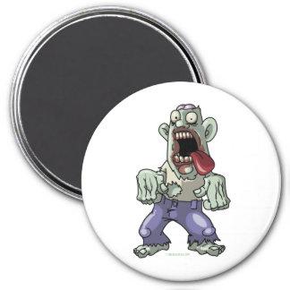 Cartoon Zombie 3 Inch Round Magnet