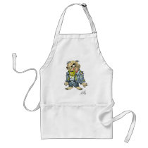 zombie, dead, cartoon, art, drawing, business, man, tatters, undead, horror, al rio, Apron with custom graphic design