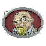 Cartoon Zombie Business Man Art by Al Rio Oval Belt Buckle