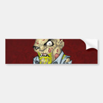 zombie, dead, cartoon, art, drawing, business, man, tatters, undead, horror, al rio, Bumper Sticker with custom graphic design