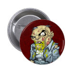 Cartoon Zombie Business Man Art by Al Rio Pinback Buttons