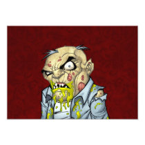 zombie, dead, cartoon, art, drawing, business, man, tatters, undead, horror, al rio, Invitation with custom graphic design