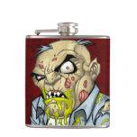 Cartoon Zombie Business Man Art by Al Rio Flask