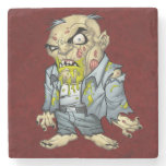 Cartoon Zombie Business Man Art by Al Rio Stone Beverage Coaster