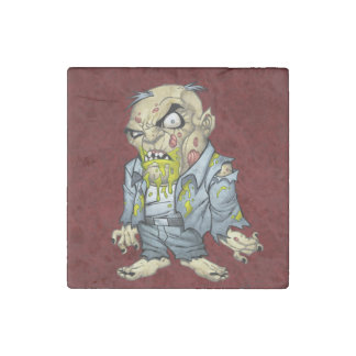 Cartoon Zombie Business Man Art by Al Rio Stone Magnet