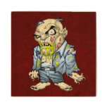 Cartoon Zombie Business Man Art by Al Rio Maple Wood Coaster