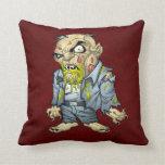 Cartoon Zombie Business Man Art by Al Rio Throw Pillows