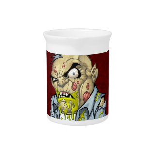 Cartoon Zombie Business Man Art by Al Rio Beverage Pitchers
