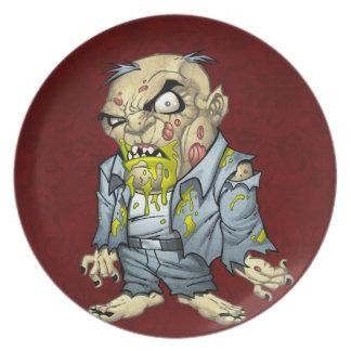 Cartoon Zombie Business Man Art by Al Rio Plates