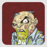 Cartoon Zombie Business Man Art by Al Rio Square Stickers