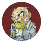 Cartoon Zombie Business Man Art by Al Rio Round Stickers