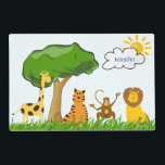 """Cartoon Zoo Safari Jungle Animals Custom Kids Name Placemat<br><div class=""""desc"""">A cute cartoon giraffe, lion, monkey and tiger are sitting in the grass under a big tree. The monkey is waving hello. The sun is shining with a cloud above. All on a light blue sky background. Options, add the child&#39;s name to the cloud, change text color, or delete name...</div>"""