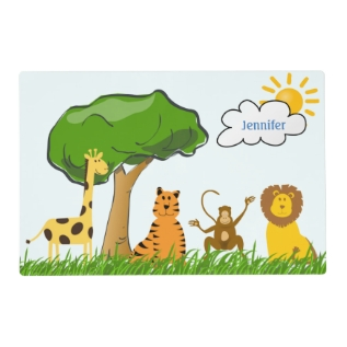 Cartoon Zoo Safari Jungle Animals Custom Kids Name Placemat at Zazzle