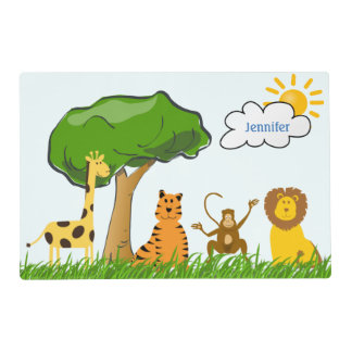Cartoon Zoo Safari Jungle Animals Custom Kids Name Placemat