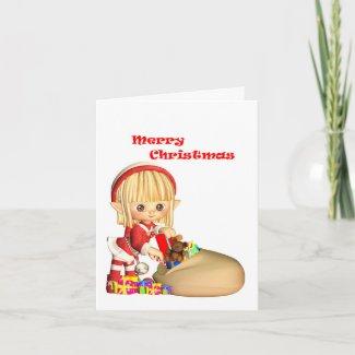 Cartooned Christmas Elf Card